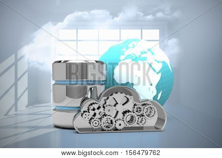 Database server icon with metallic cloud and earth against room with holographic cloud