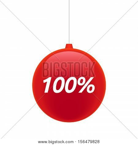 Isolated Christmas Ball With    The Text 100%