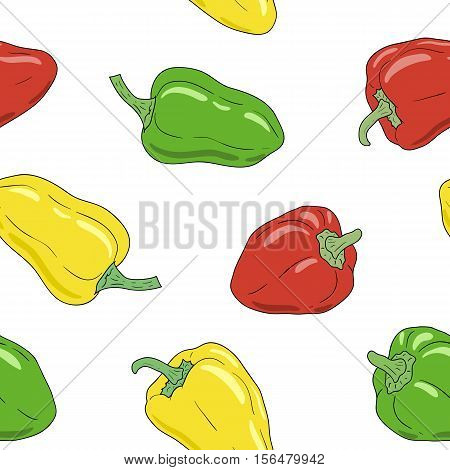 Fresh vibrant ripe yellow, green and red bell pepper on white background. Hand drawn paprika pattern. Vector seamless pattern, eps10. For backgrounds, wallpapers, wrapping paper, textile.
