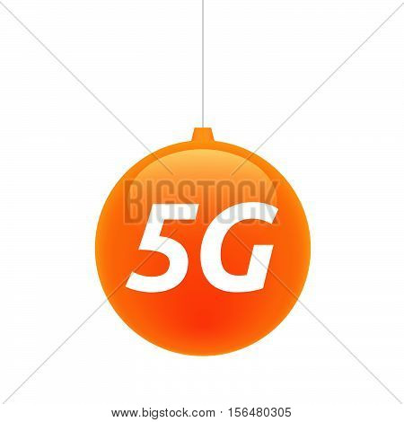 Isolated Christmas Ball With    The Text 5G