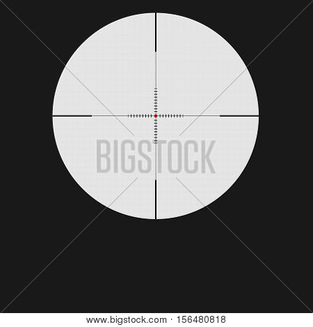Isolated vector illustration with sniper sight, target for shooting icon on white background, cross-hair with red dot.