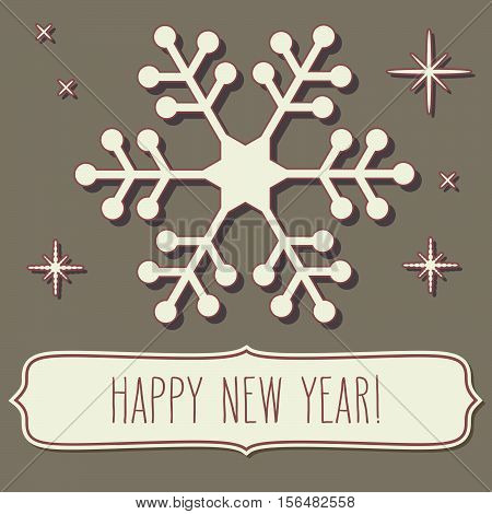 Snowflake Frame And New Year Greetings
