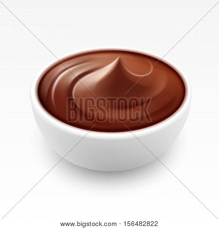 Bowl of Hot Liquid Cream Dark Milk Chocolate Close up Isolated on White Background