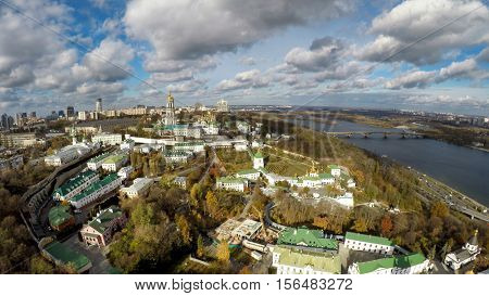 aerial view of Kiev-Pechersk Lavra in autumn