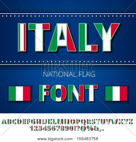 Italy national flag stylized font. Alphabet and Numbers in Vector Set