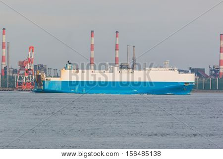Industrial Scene Background. Landscape Of Industry At Port. General Cargo Ship
