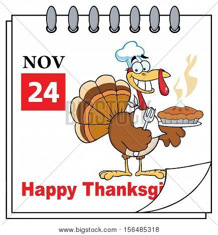 Calendar Page With Turkey Chef With Pie. Illustration Isolated On White Background