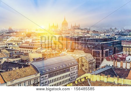 Aerial View On Budapest At Sunrise, Hungary