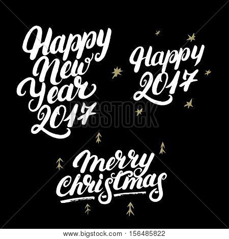 Set of Happy New Year 2017 and Merry Christmas hand written lettering. Modern brush calligraphy. Christmas greeting card on black background. Golden design elements. Vector illustration.