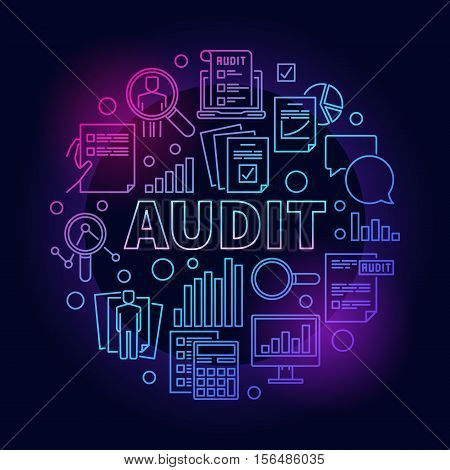 Business audit colorful illustration. Round vector financial analytics outline symbol made with word AUDIT and business icons on dark background