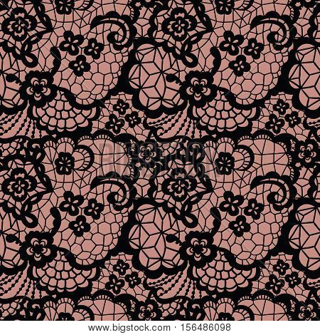 Lace black seamless pattern with flowers on beige background