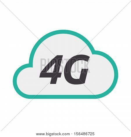 Isolated Cloud Icon With    The Text 4G