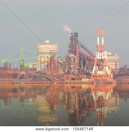 Industrial Scene Background. Landscape Of Industry At Port.