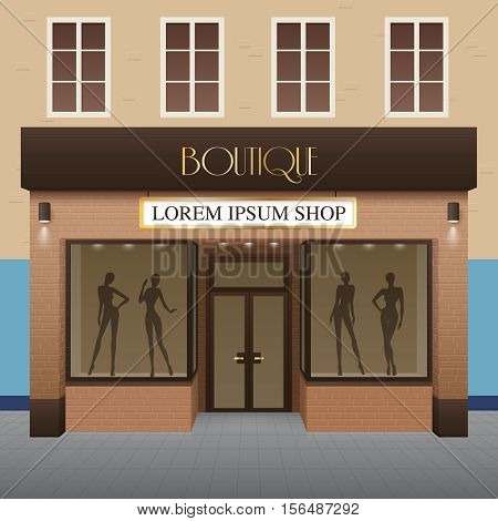 Boutique building realistic background with fashion and beauty symbols vector illustration