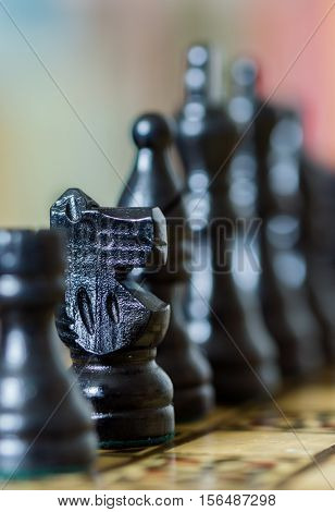 Close Up Of Chess Pieces With Narrow Depth Of Field