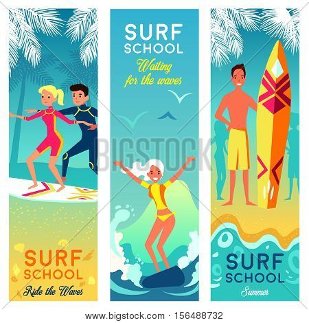 Surf school vertical banners with brave girls and boys surfing in summer vacation flat vector illustration