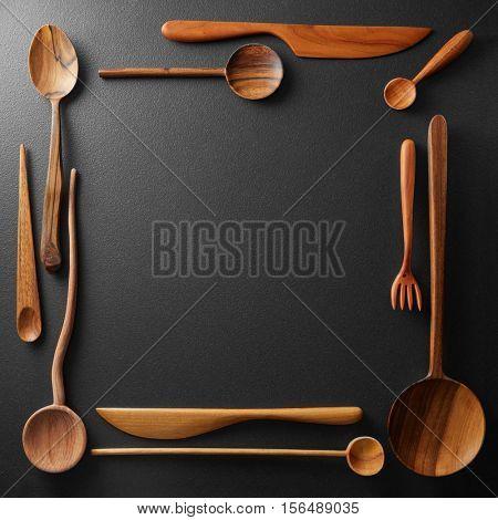 frame of wooden kitchen utensil