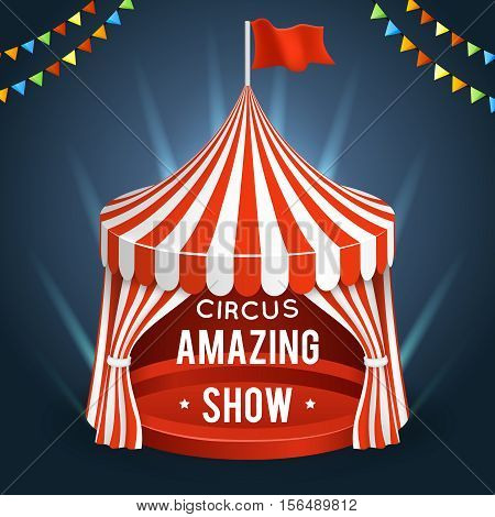 Funfair circus. Vector poster with tent, banner for amazing show illustration