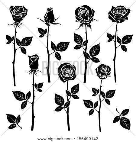 Rose silhouettes, spring buds vector symbols. Black rose with leaf, nature flower roses illustration