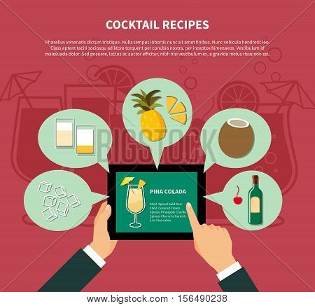Cocktail recipe template of pina colada with colorful icons of ingredients in flat style vector illustration