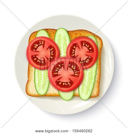 Healthy breakfast idea of wholegrain bread with fresh tomato and cucumber slices appetizing top view vector illustration