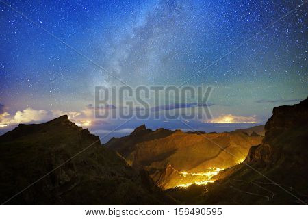 Masca, mountain village by night in Tenerife, Canary islands