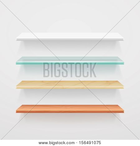 Empty wood, glass, metal, plastic shelves vector template. Interior of set of shelf for office or home. Illustration of shelf for book