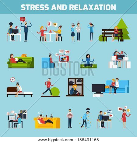 Stress and relaxation collection with people in stressful situations ways of treatment and prevention isolated vector illustration