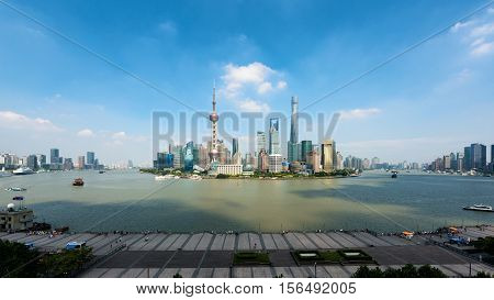 Panorama of Shanghai Shanghai lujiazui finance and business district trade zone skyline Shanghai China