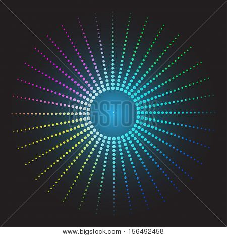 Colored abstract background. circles of glowing pixels, concentric circles. vector illustration. digital. Light Abstract Technology background for computer graphic website internet. Mosaic table