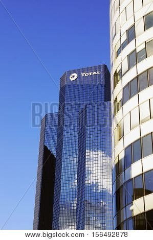 PARIS FRANCE - SEPTEMBER 29 2015: Tour Total is skyscraper (190m high) located in La Defense business district in Paris France and it's head office of Total S.A. one of the major oil and gas producers in the world
