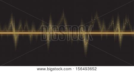 Sound waves oscillating glow, gold light.  Abstract technology background , music background, vector illustration
