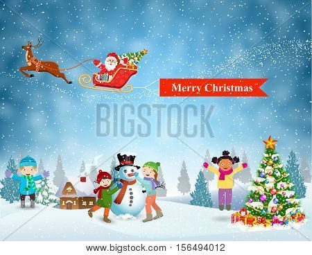 Happy new year and merry Christmas landscape card design. Winter fun. Children building snowman. Santa Claus sleigh fly over the forest, house, snowman and pulled merry christmas banner