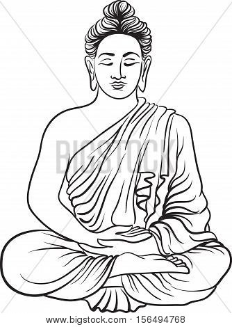 Drawing of a Buddha statue. Art vector illustration of Gautama. Buddhism Religion
