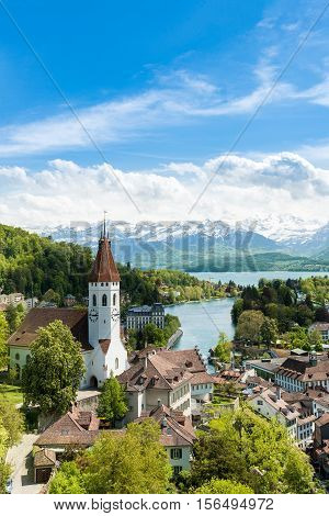 The historic city of Thun in the canton of Bern in Switzerland. Beuatiful landscape in witzerland