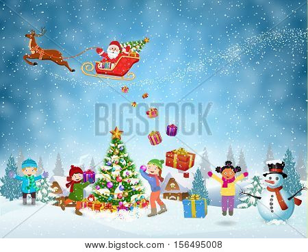 Happy new year and merry Christmas landscape card design. Winter fun. kids decorating a Christmas tree. Winter holidays. Santa Claus sleigh fly over the forest, house, snowman and throws gifts.