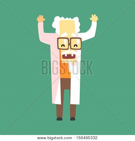 Funny Scientist In Lab Coat With A Goatee. Character Drawing On Green Background In Cool Geometric Style
