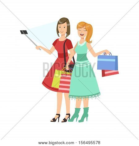 Two Girlfriends Shopping Taking Picture With Selfie Stick Illustration. Colorful Simplified Character Flat Vector Drawing Isolated On White Background.