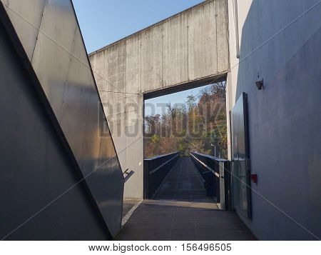 Acces To A Pedestrian Bridge On A Concrete Building