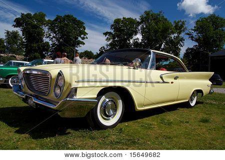 HAAPSALU, ESTONIA - JULY 18: American Beauty Car Show, showing beige 1961 Chrysler Windsor 2D HT, front view on July 18, 2009 in Haapsalu, Estonia