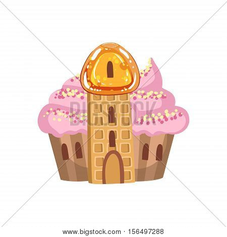 Small Cupcake Castle With Cream Roof And Waffle Tower Fantasy Candy Land Sweet Landscape Element. Illustrations From Girly Magic Sweet Land Design Set For Video Game Landscaping.