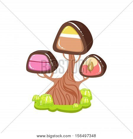Tree With Chocolate Trunk And Chocolate Candy Crown Fantasy Candy Land Sweet Landscape Element. Illustrations From Girly Magic Sweet Land Design Set For Video Game Landscaping.