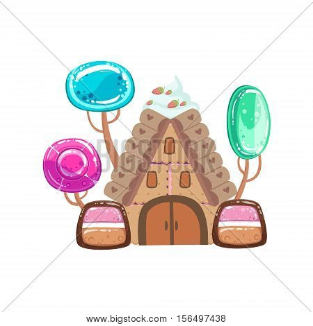 Fairy Tale House With Candy Trees Fantasy Candy Land Sweet Landscape Element. Illustrations From Girly Magic Sweet Land Design Set For Video Game Landscaping.