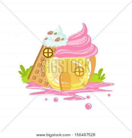 Small Jelly And Waffle House With Whipped Cream Roof Fantasy Candy Land Sweet Landscape Element. Illustrations From Girly Magic Sweet Land Design Set For Video Game Landscaping.