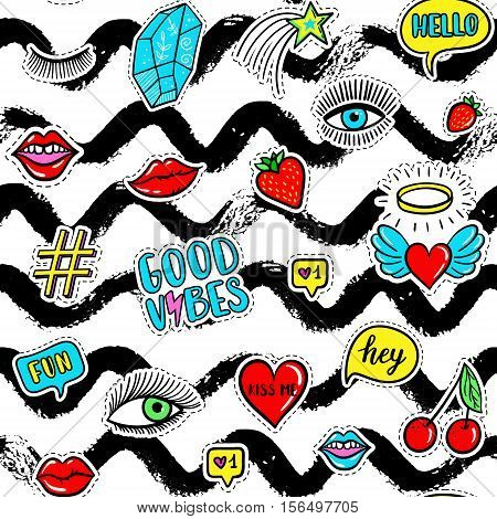 Vector hand drawn seamless pattern with fashion fun patches: eyes, lip, star, strawberry, cherry, crystal, Good vibes speech bubble. Pop art stickers, patches, pins, badges 80s-90s style