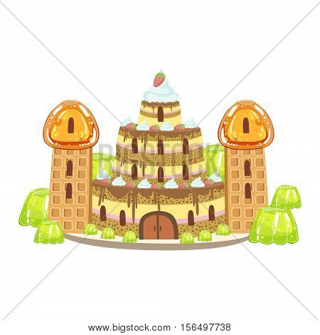 Birthday Cake Castle With Waffle Towers Fantasy Candy Land Sweet Landscape Element. Illustrations From Girly Magic Sweet Land Design Set For Video Game Landscaping.