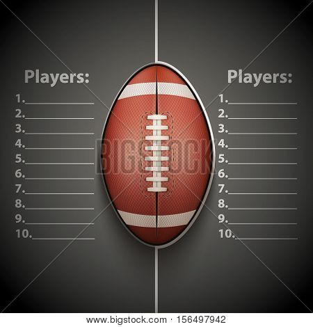 Poster Template Score Board with American Football Ball. Cup and Tournament Advertising. Sport Event Announcement. Vector Illustration.