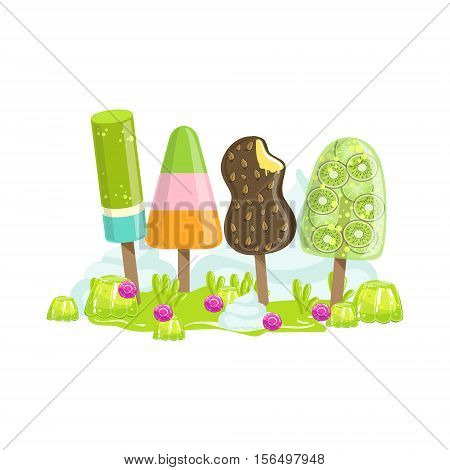 Ice Cream And Frozen Fruit Trees Fantasy Candy Land Sweet Landscape Element. Illustrations From Girly Magic Sweet Land Design Set For Video Game Landscaping.