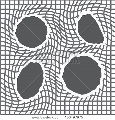 Pattern of net with torn holes. Abstract texture with ragged grid. Vector background