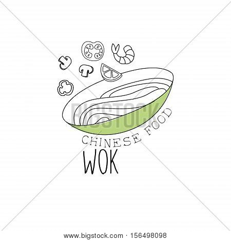 Bowl With Noodles, Shrimps And Vegetables Chinese Food And Wok Fast Food Cafe Menu Hand Drawn Illustration. Trendy Asian Junk Food Restaurant Promo Sketch Drawings.